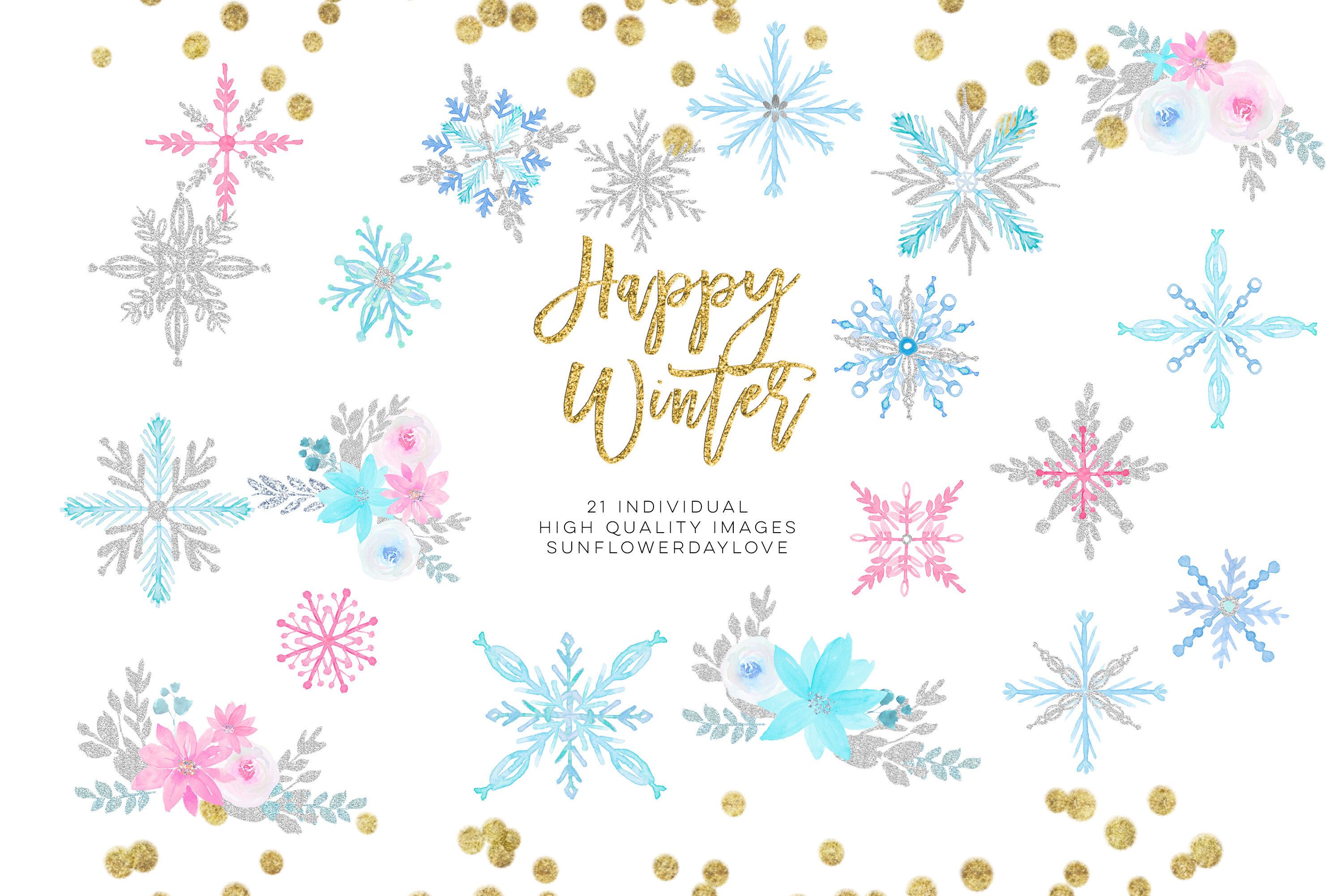 Winter onederland clipart, winter snowflakes clipart By.