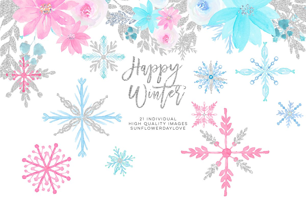 Winter snowflakes clipart ~ Illustrations ~ Creative Market.