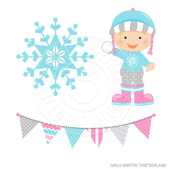 Girls Winter ONEderland Digital Clipart Commercial Use OK.