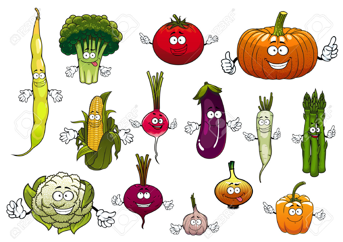Farm Cartoon Ripe Tomato And Corn Cob, Onion And Eggplant.