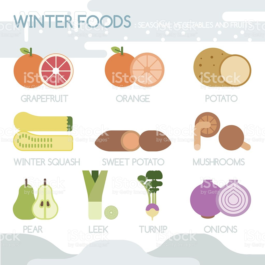 Winter Foods Seasonal Vegetables And Fruits stock vector art.