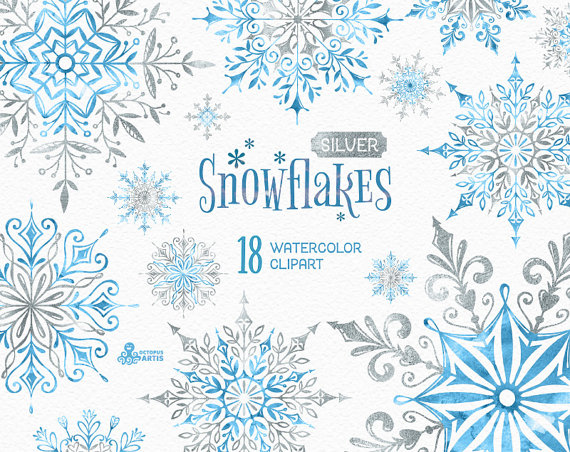 Snowflakes Silver. 18 Watercolor separate Elements, clipart.
