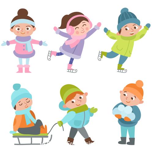 Winter children outdoor play vector free download.