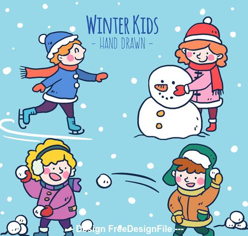 Winter outdoor play vector free download.