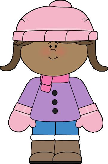 Little Girl Dressed for Winter Clip Art.