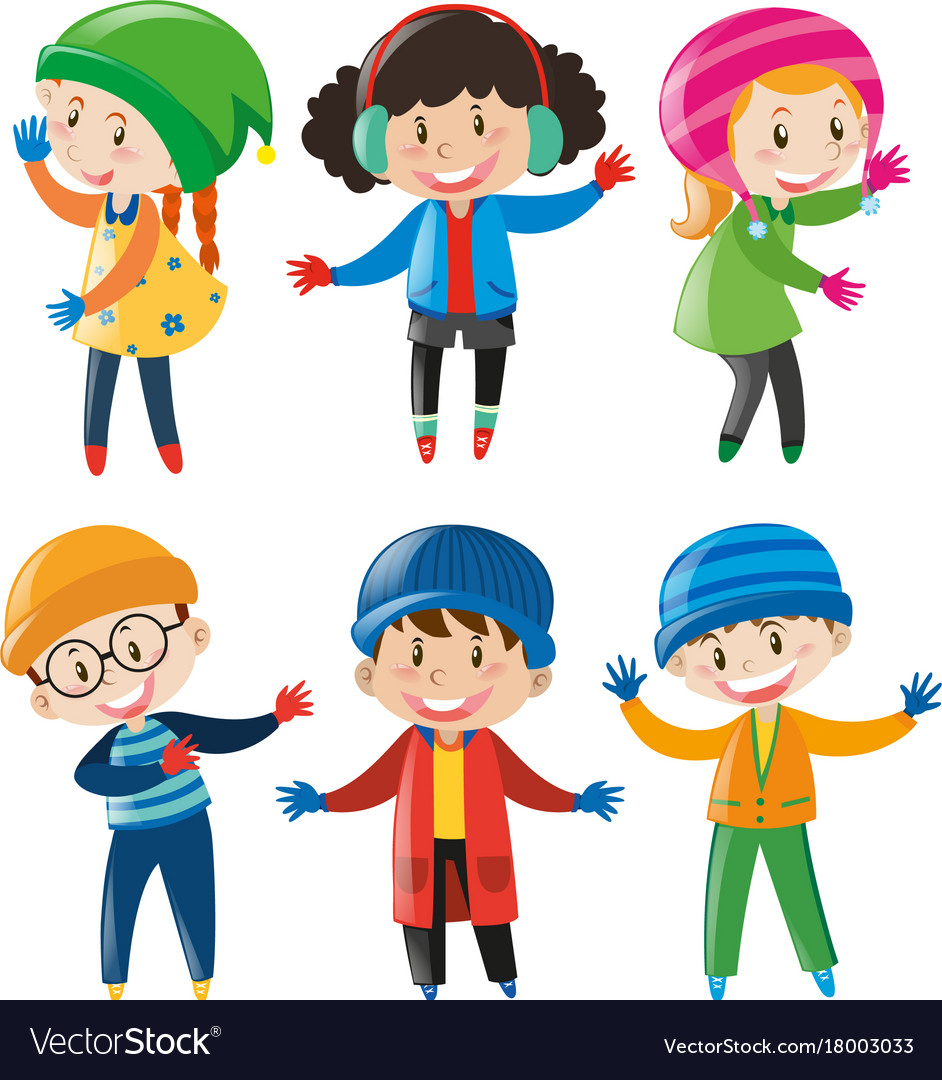 Boys and girls in winter outfit.