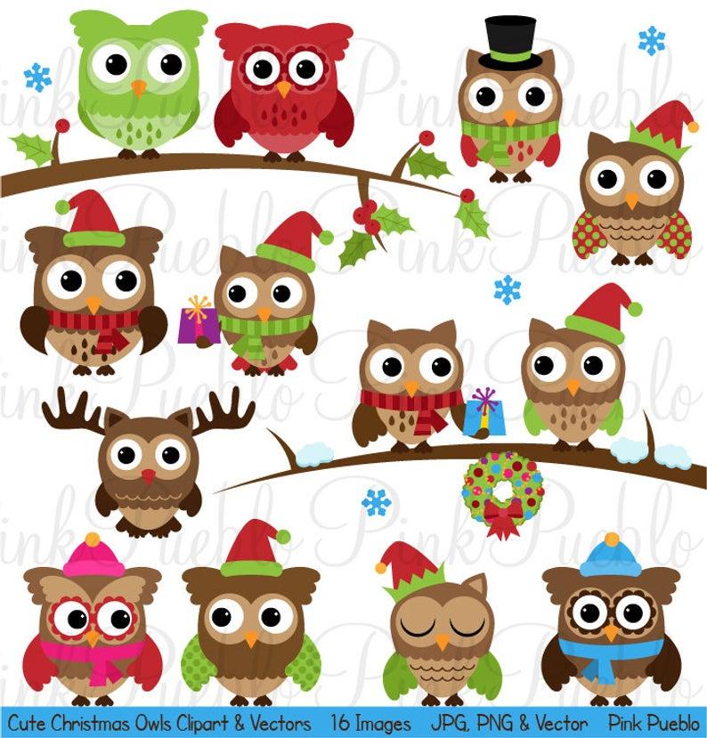 Cute Christmas Owl Clipart Clip Art, Winter Owls Clip Art Clipart Vectors.