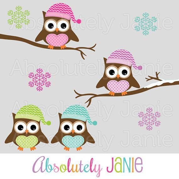 Winter Owls Clipart.