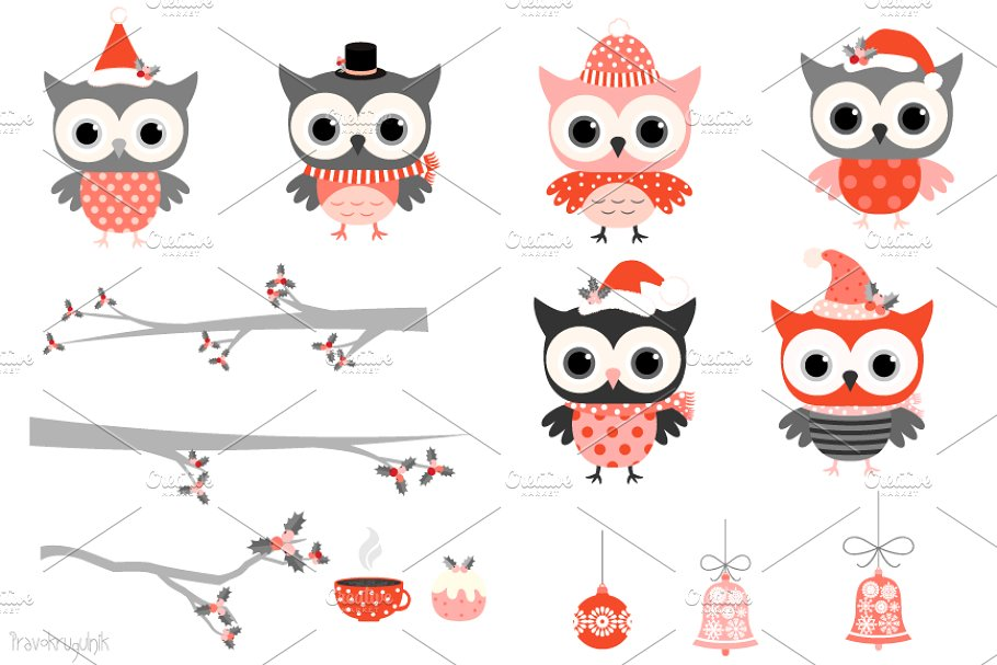 Winter owls clipart in red and grey.