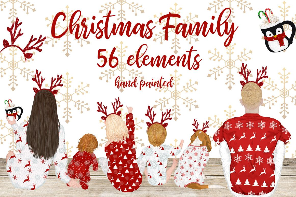 Christmas clipart,Christmas Family movie night, Xmas pajamas.