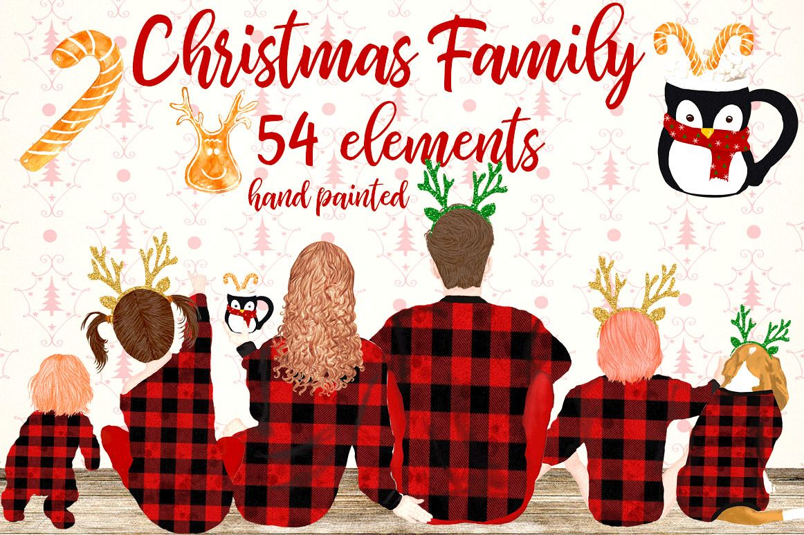 Christmas Family Clipart Family sitting Christmas pajamas.