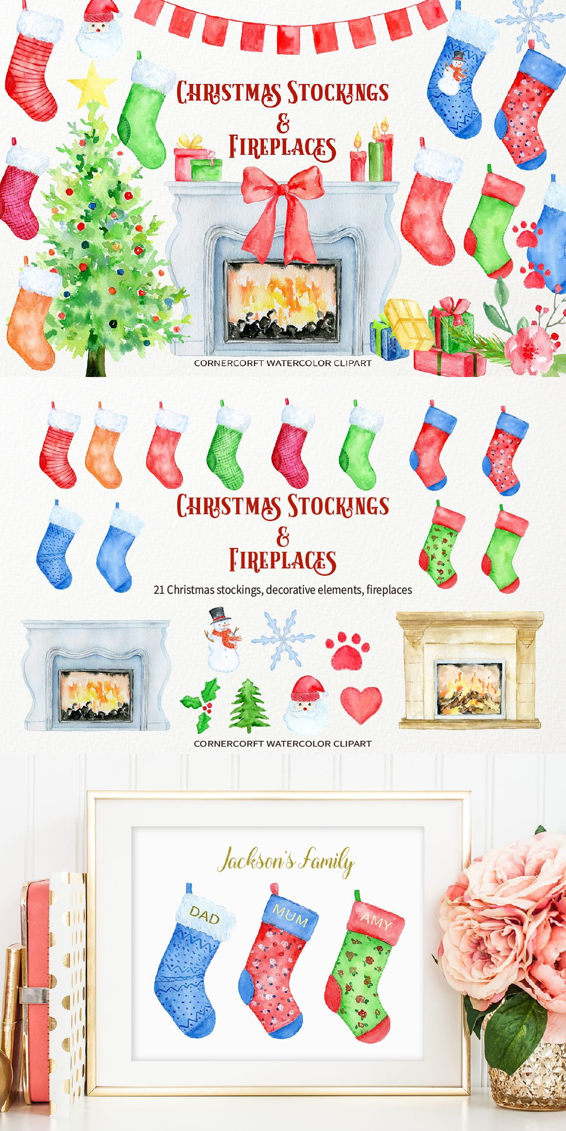 Watercolor Clipart Christmas Stocking and Fireplace for.