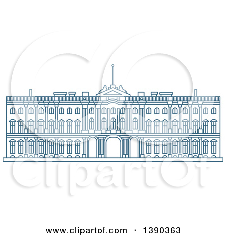 Clipart of a Blue Lineart Styled Landmark, Winter Palace.