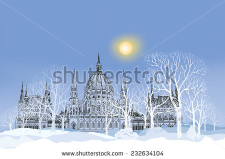 Budapest Winter Stock Images, Royalty.