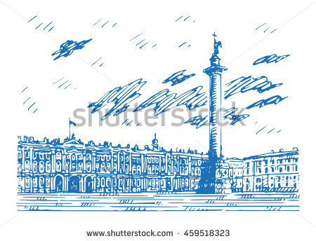 View Of Winter Palace And Alexander Column On Palace Square In St.