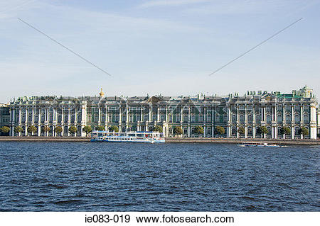 Stock Photograph of Winter palace and neva river ie083.