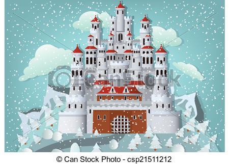 Clip Art of Frozen castle in winter landscape.