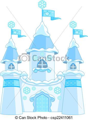 Clip Art Vector of Winter castle.