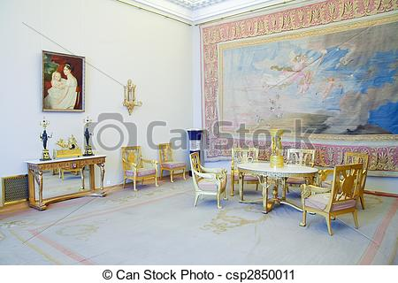 Stock Photography of Interiors of Winter Palace with vintage.