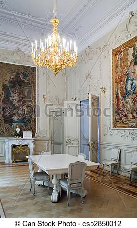 Stock Photo of Interiors of Winter Palace with vintage tapestry at.