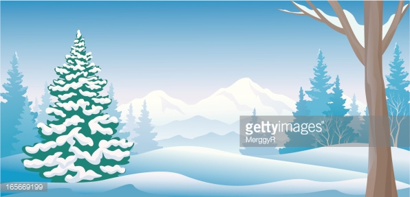 Winter Day Panoramic Vector Art.
