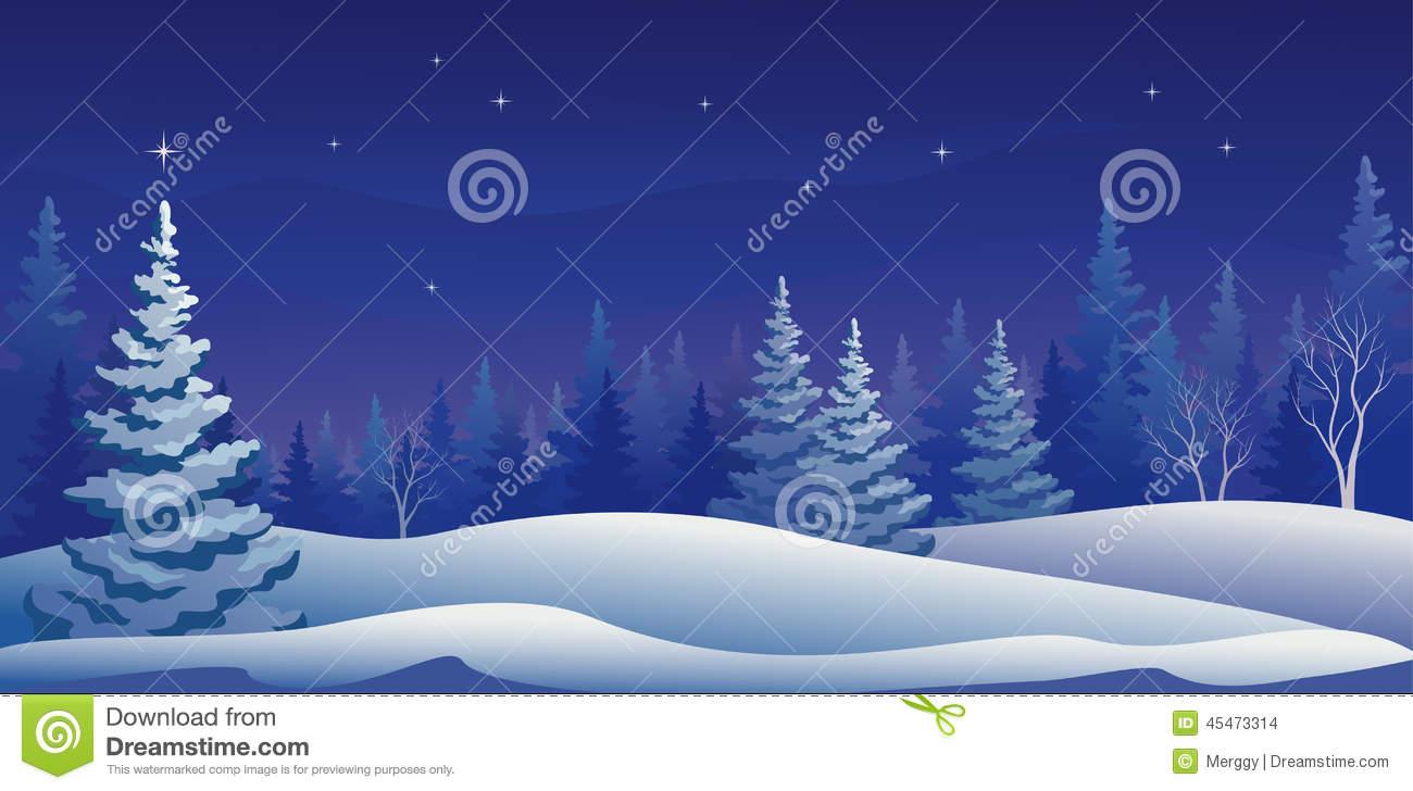 Winter Night Panoramic Stock Vector.