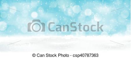 Clip Art Vector of Light blue winter holiday bokeh background.