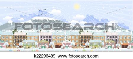 Clip Art of panorama. winter city life k22296489.