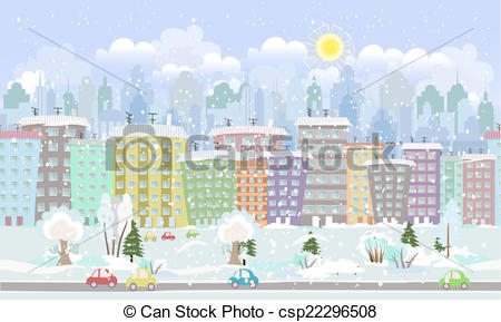 Vector Clipart of panorama. seamless border with a winter.
