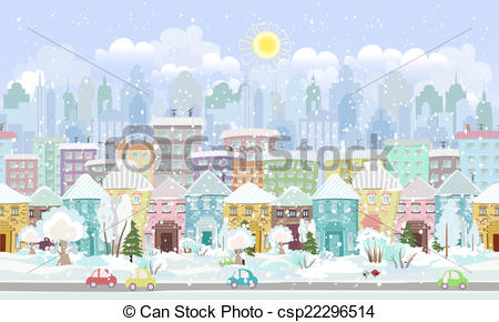 Vector Clip Art of panorama. seamless border with a winter.