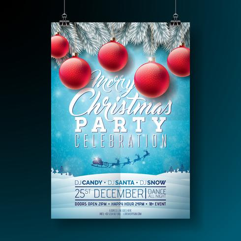 Vector Merry Christmas Party Flyer Illustration with.