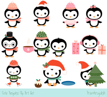 Cute penguins clipart set, Christmas penguin clip art collection, Winter  penguin.