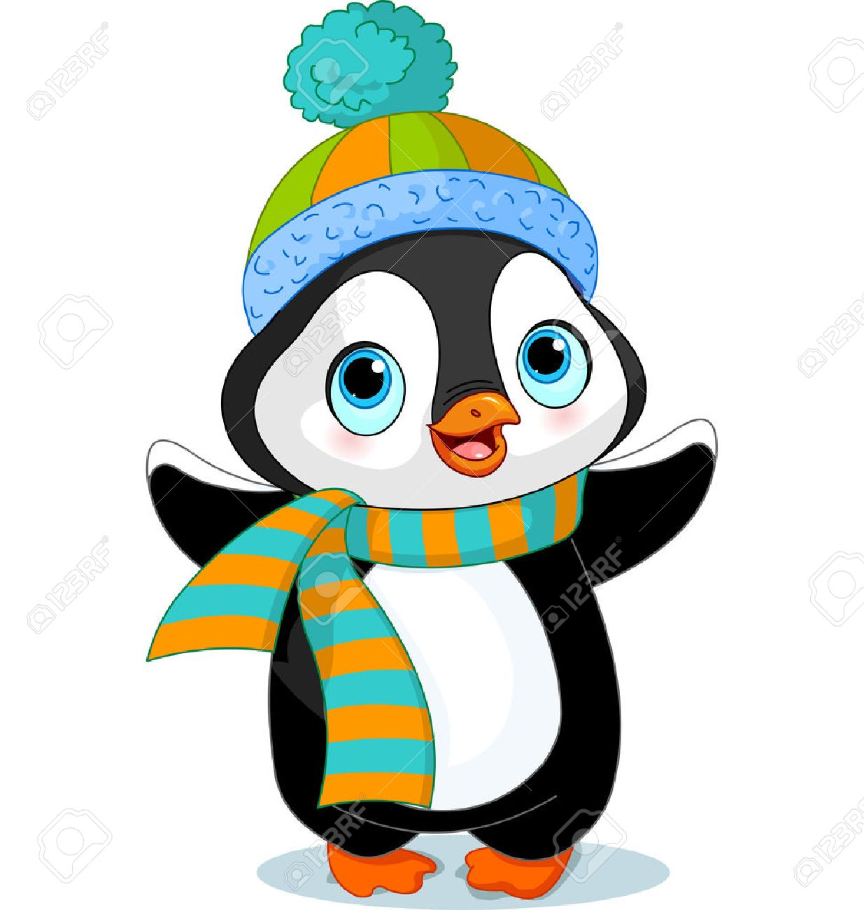 Cute winter penguin with hat and scarf.