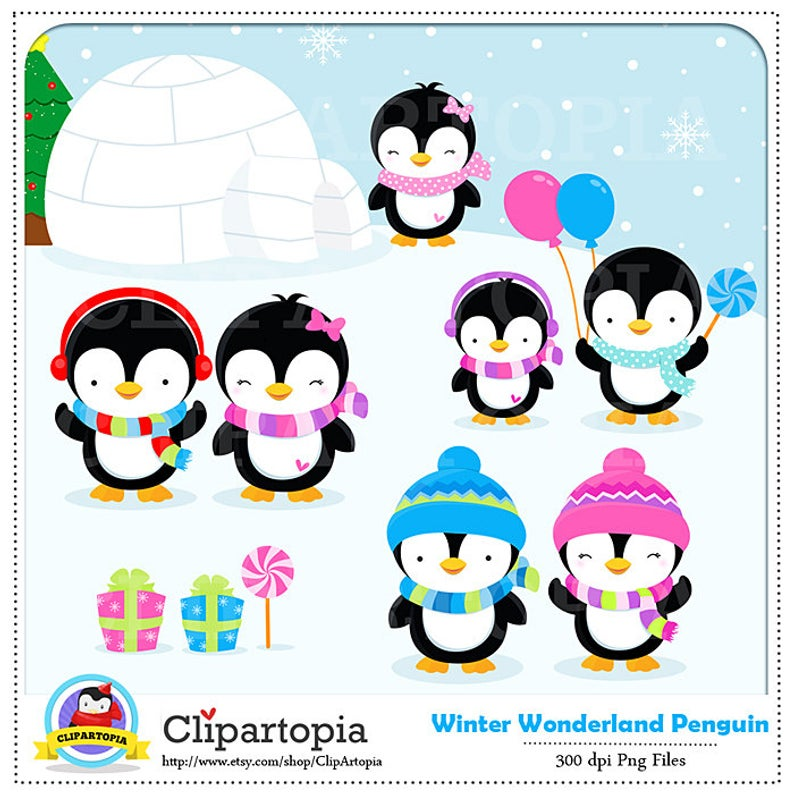 Penguin Clipart / Winter penguin wonderland digital clipart / Penguin Clip  art / Winter Penguins Clipart For personal and comercial use.