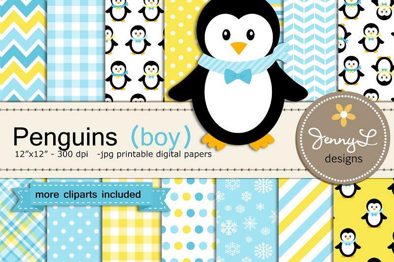 Penguin Boy Digital Paper and Penguin Clipart, Winter, Snow Penguins.