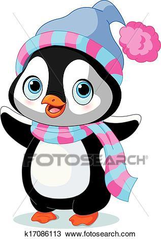 Cute winter penguin Clipart.