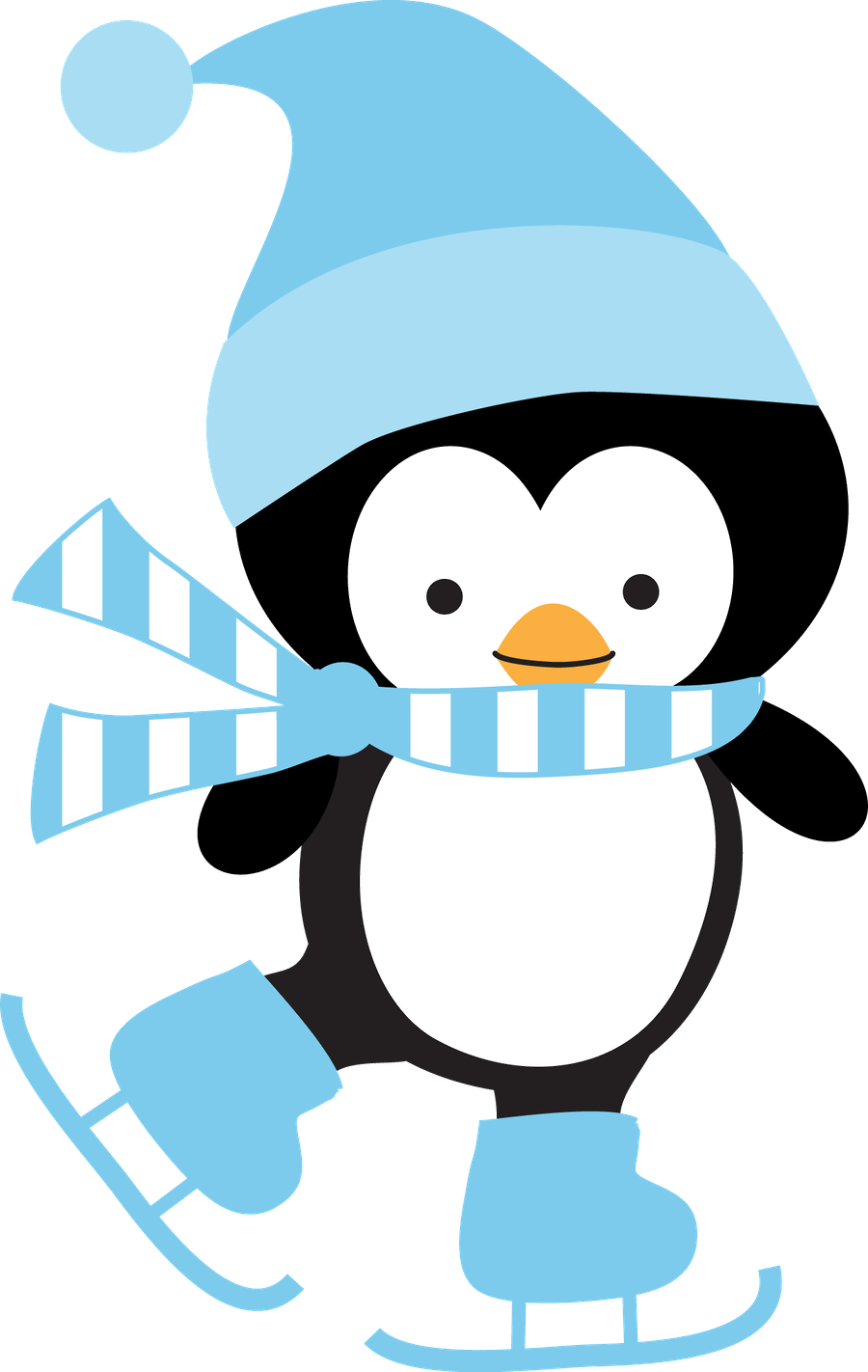 Winter Clipart Penguin Ice Skating Clipart.