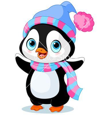 Cute winter penguin vector.