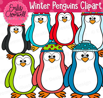Winter Penguins Digital Clipart, Cute Christmas Clipart.