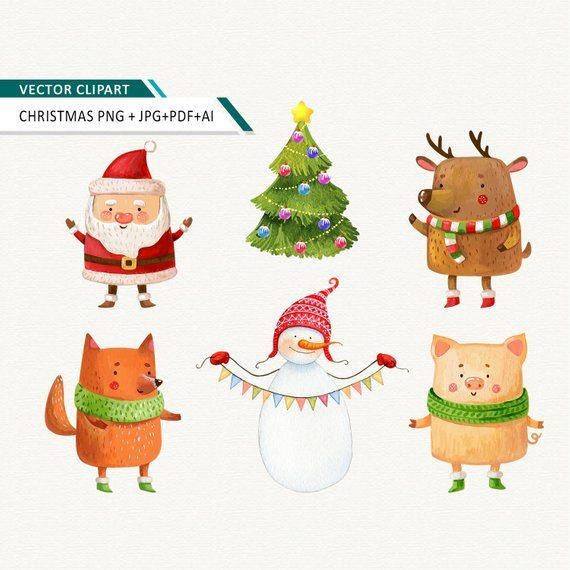 Christmas clipart Watercolor winter clip art pig Santa fox.