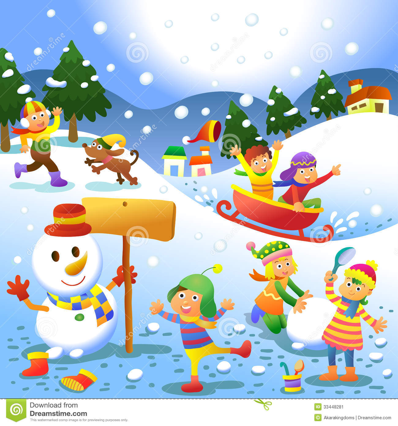 Cute Kids Playing Winter Games Stock Vector.