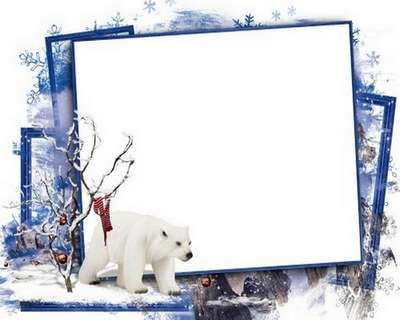 Winter PNG photo frame psd template.