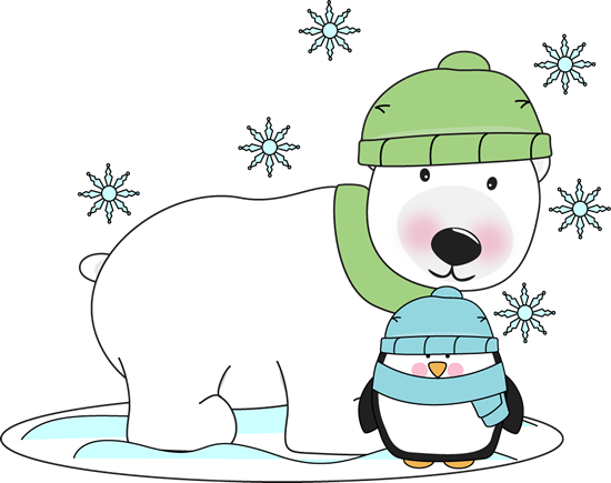 Winter Polar Bear and Penguin Clip Art.