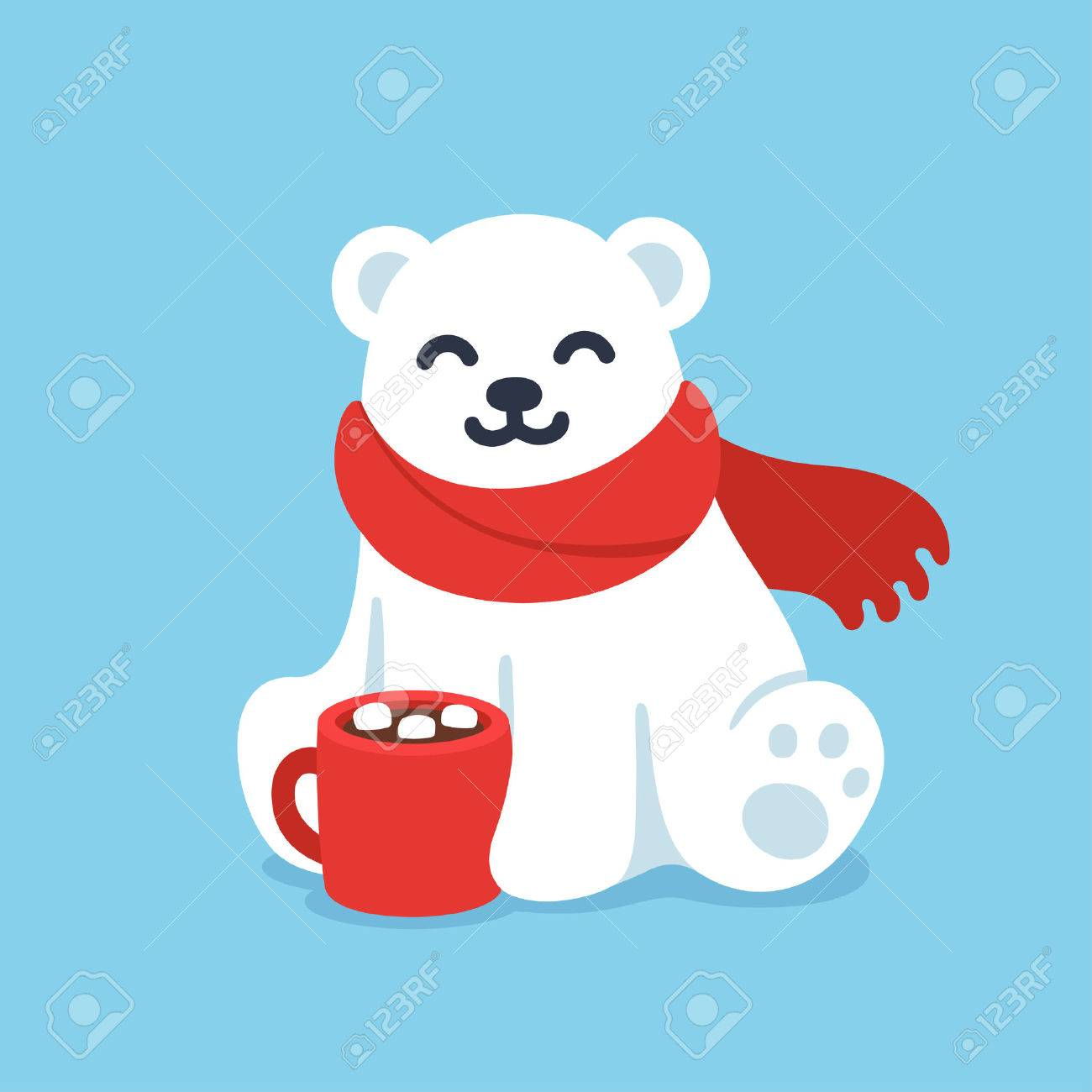 Cute Winter Polar Bear Clipart.