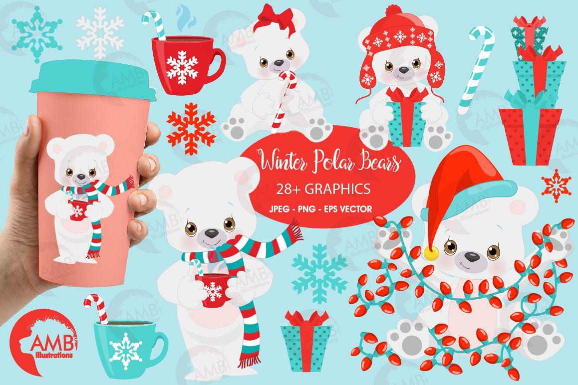 Polar Bear clipart, Winter Bear clipart, Christmas bear illustrations  AMB.