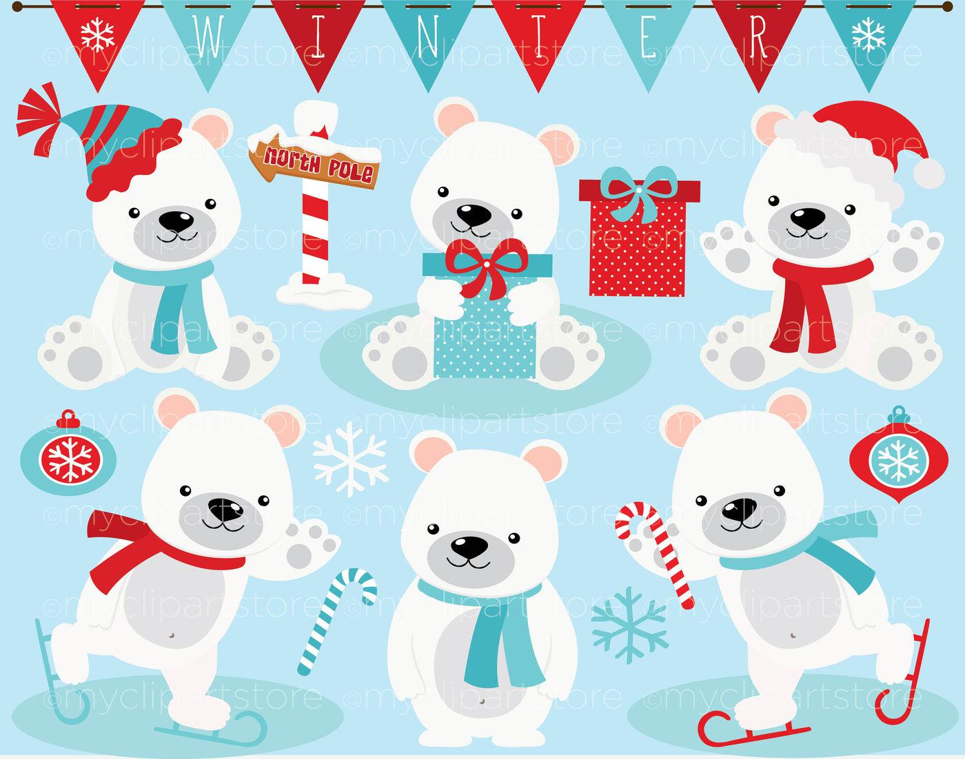 Winter Polar Bear Vector Clipart By MyClipArtStore.