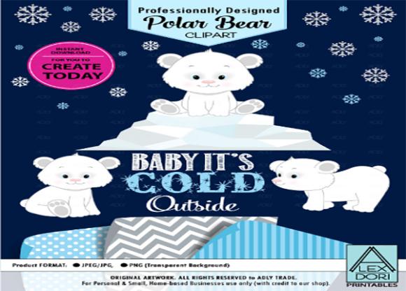 Polar Bear Clip Art, Winter, Cold,snowfl.