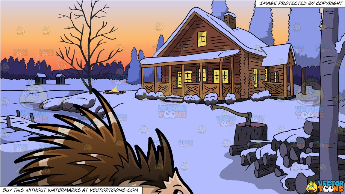An Endearing Porcupine and Winter Lake House Background.