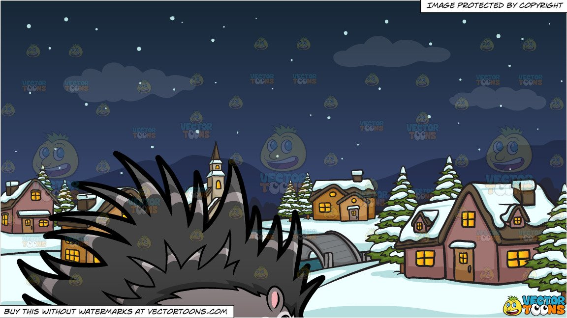 A Porcupine and Winter Night In A Small Town Background.