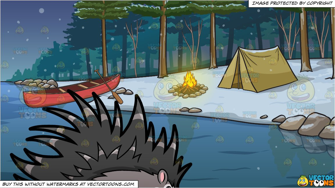 A Porcupine and Winter Camping Site Background.
